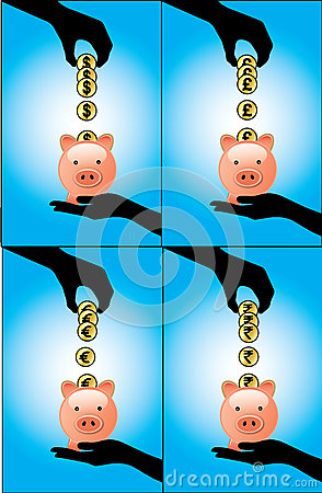 A Hand Saving Different currency coins into a pigg