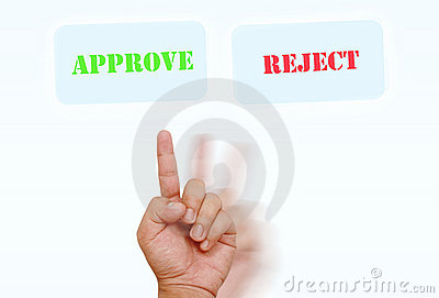 Hand selecting on approve