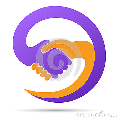 Hand shaking logo help together partnership trust friendly cooperation symbol vector icon design. Vector Illustration