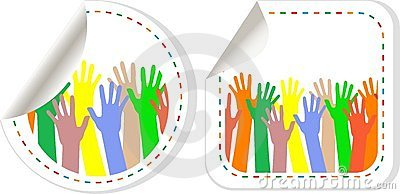 Hand shaped promotional vector stickers set. tags
