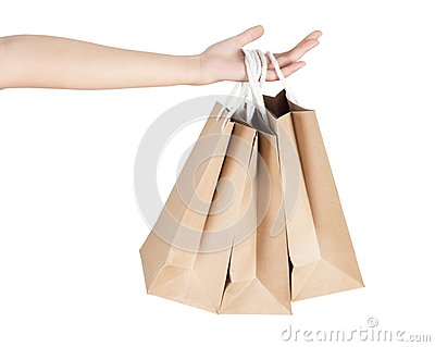 Hand and shopping bags