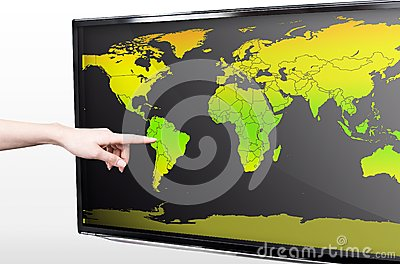 Hand showing blank world map