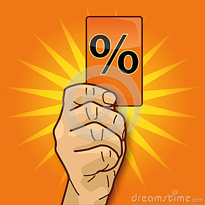 Hand showing card with percent card