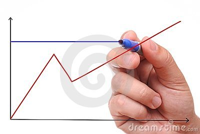 Hand showing graph isolated