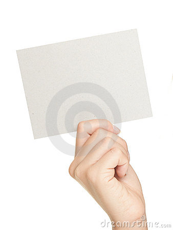 Hand showing paper sign