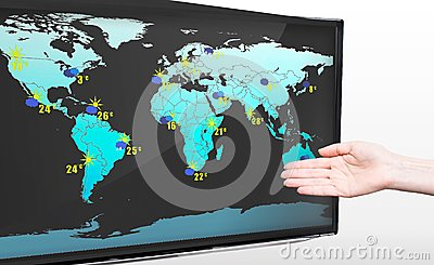 Hand showing weather forecast on TV