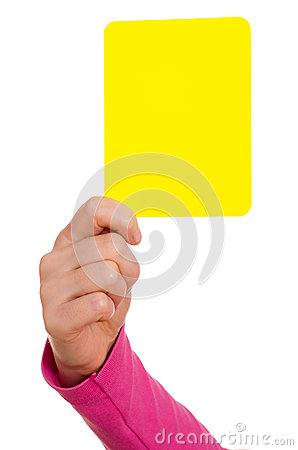 Hand is showing a yellow card
