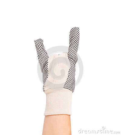 Hand shows rock sign in rubber glove.