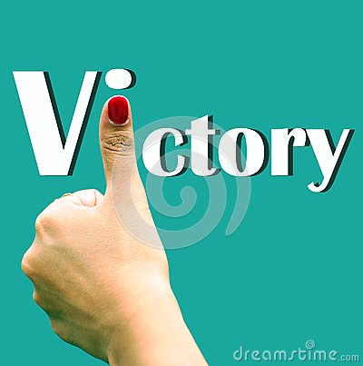 Hand sign depicting victory