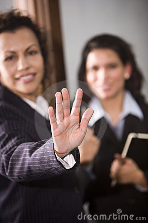 Hand signaling to stop