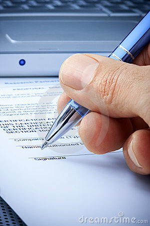 Hand Signature Computer Contract Insurance