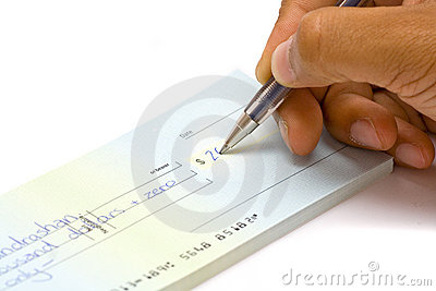 Hand signing cheque