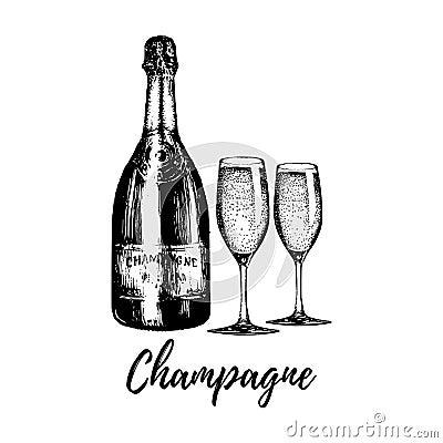 Hand sketched champagne bottle and two glasses. Vintage vector illustration of sparkling wine set for cafe, bar menu. Vector Illustration