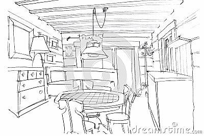 hand sketching of a modern kitchen interior stock illustration image