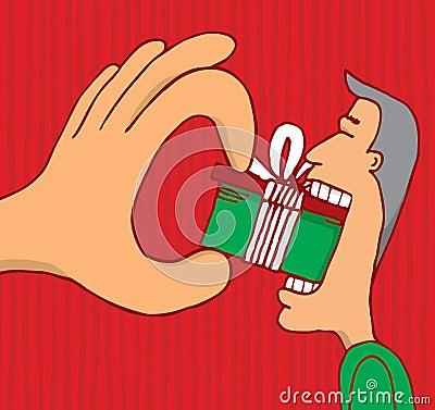 Hand som tvingar en gåva till konsumenten