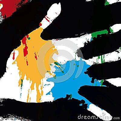 Hand splashed (vector)