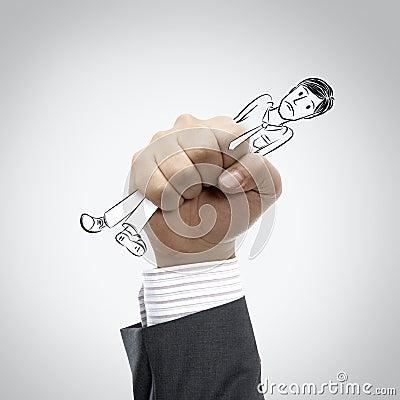 Hand squeeze employee