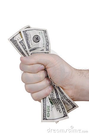 Free Hand Squeezing Bunch Of Dollar Royalty Free Stock Image - 3520626
