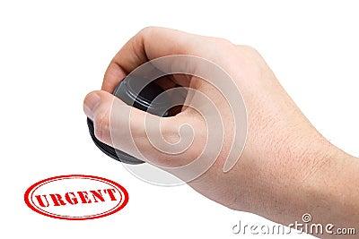Hand and stamp Urgent