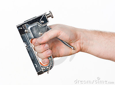 Hand with staple gun
