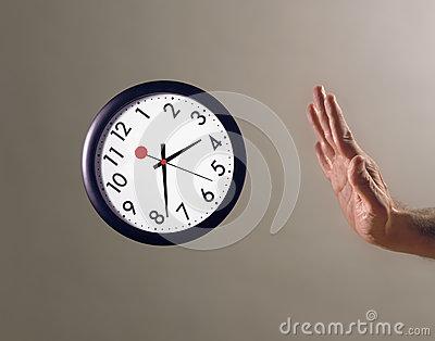 Hand stopping flying clock