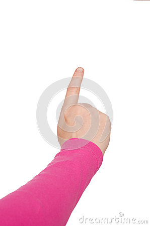 Hand with stretched forefinger
