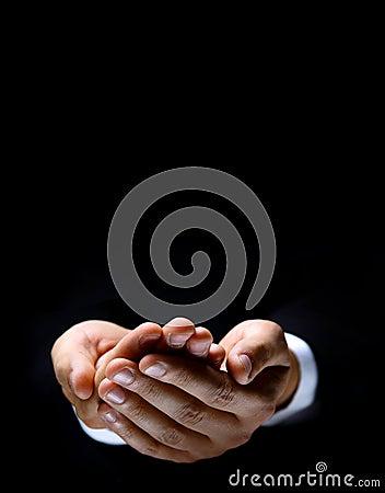 Hand symbol on dark
