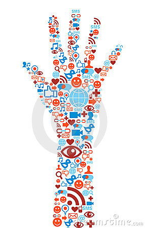 Hand symbol with media icons texture