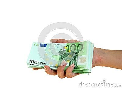 Hand take euro