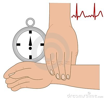 Hand taking pulse and ekg