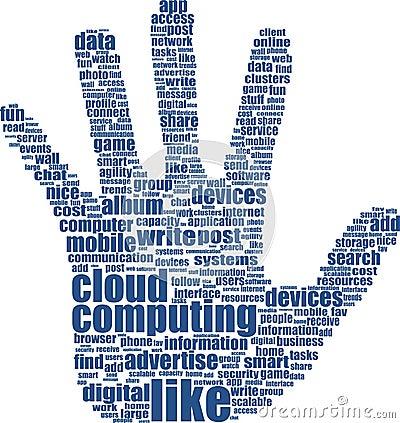 Hand text keywords on social media themes