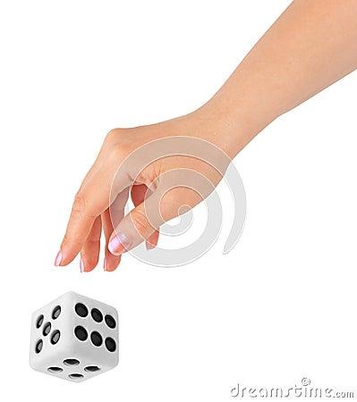 Free Hand Throwing Big Dice Royalty Free Stock Photos - 15986098
