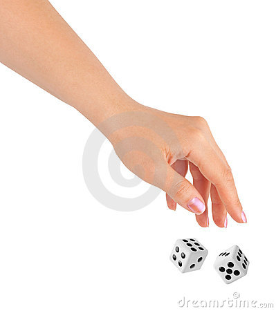 Free Hand Throwing Two Dices Royalty Free Stock Images - 18873319