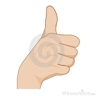 Hand with thumb up showing okey sign , cheering