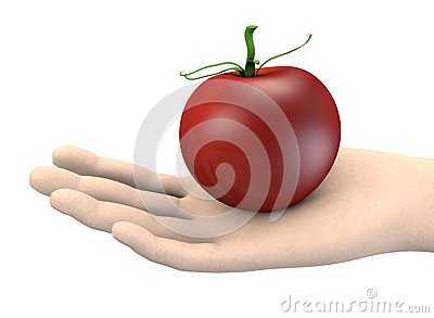 Hand with tomato