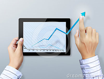 Hand touch graph on the tablet