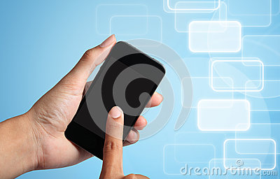 Hand touch screen to smart phone