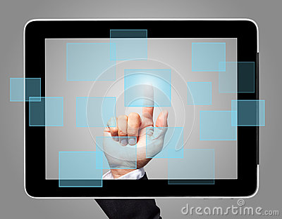 Hand touch screen virtual icon