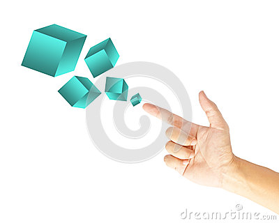 Hand touching boxes