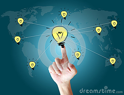 Hand touching bulb on the screen world