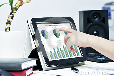 Hand touching  tablet pc
