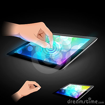 Hand is touching tablet pc to make gesture.