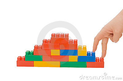 Hand and toy stairs