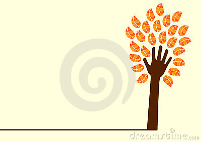 Hand tree and leaves