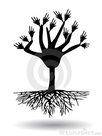 hand tree with root