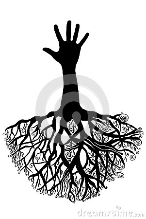 Hand tree with roots Stock Photo