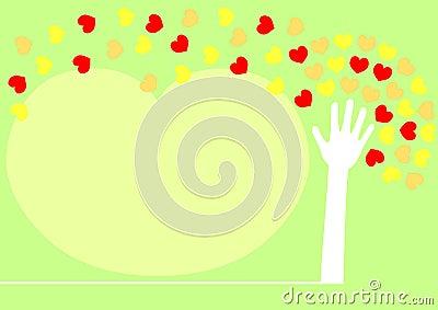 Hand tree spreading heart leaves.