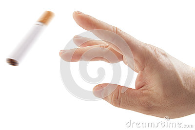 Hand trowing cigarette Quit smoking metaphor