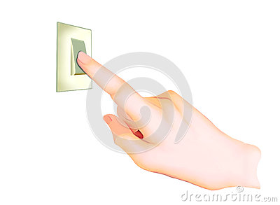 A Hand Turning On/Off A Light Switch.
