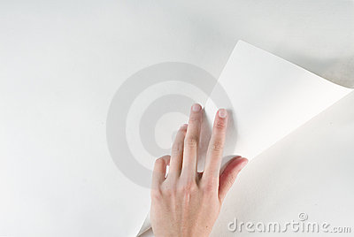 Hand turning page